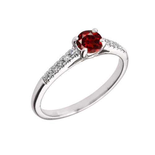 White Gold Diamond and Garnet Engagement Proposal Ring