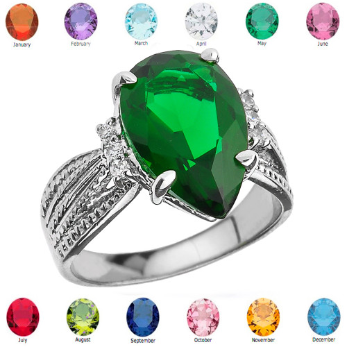Sterling Silver Diamond and Pear Shaped Lab Created Emerald Birthstone Engagement Ring
