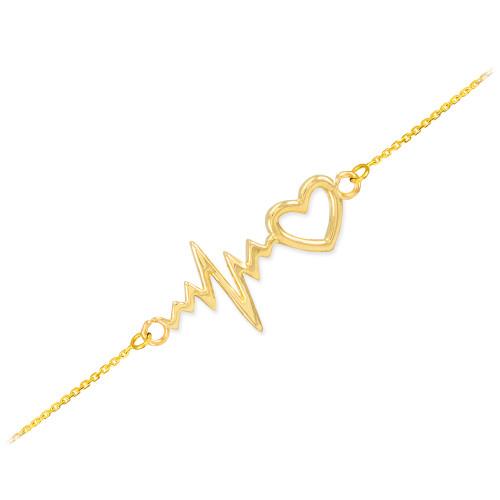 14k Yellow Gold Heartbeat Bracelet