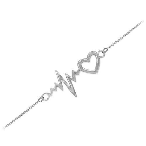 14k White Gold Heartbeat Bracelet
