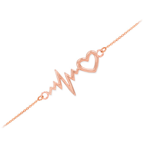14k Rose Gold Heartbeat Bracelet