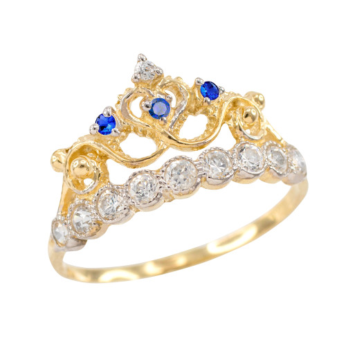 Blue CZ Gold Crown Ring