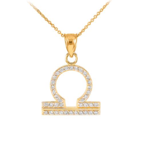 14K Gold Libra Zodiac Sign Diamond Pendant Necklace