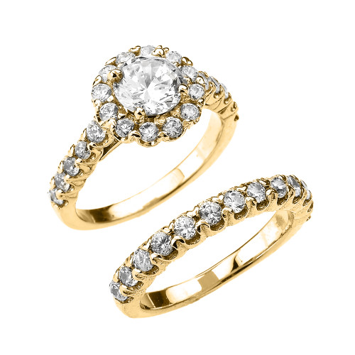 CZ Halo Engagement Ring Set in Yellow Gold
