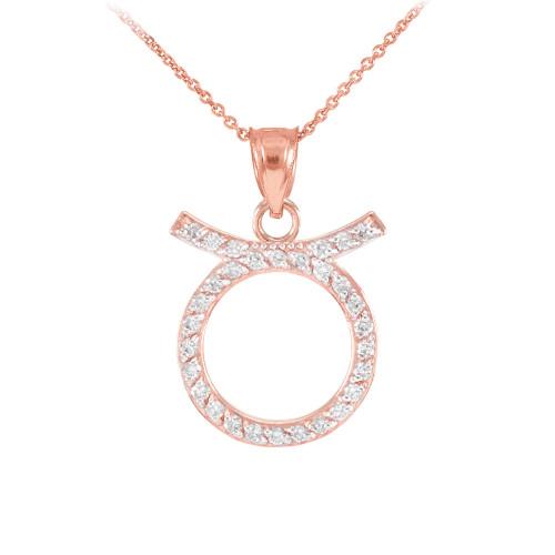 14K Rose Gold Taurus Zodiac Sign Diamond Pendant Necklace