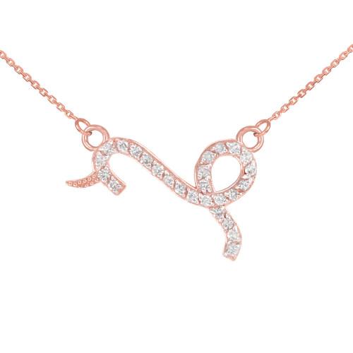14K Rose Gold Capicorn Zodiac Sign Diamond Necklace