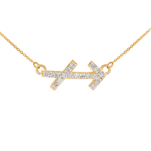 14K Gold Sagittarius Zodiac Sign Diamond Necklace