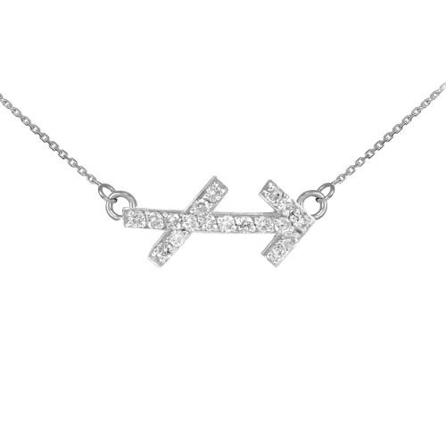 14K White Gold Sagittarius Zodiac Sign Diamond Necklace