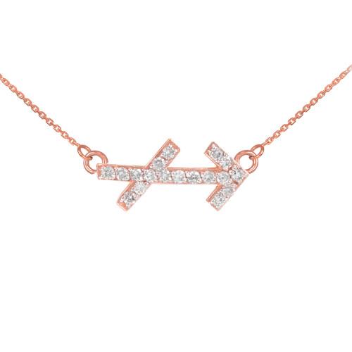 14K Rose Gold Sagittarius Zodiac Sign Diamond Necklace