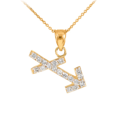 14K Gold Sagittarius Zodiac Sign Diamond Pendant Necklace