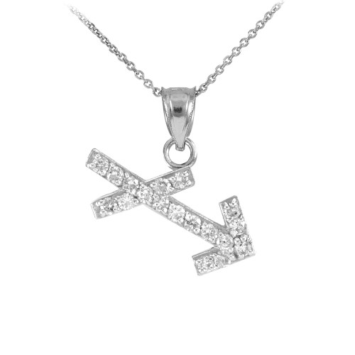 14K White Gold Sagittarius Zodiac Sign Diamond Pendant Necklace