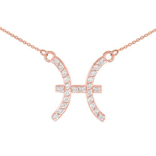 14K Rose Gold Pisces Zodiac Sign Diamond Necklace