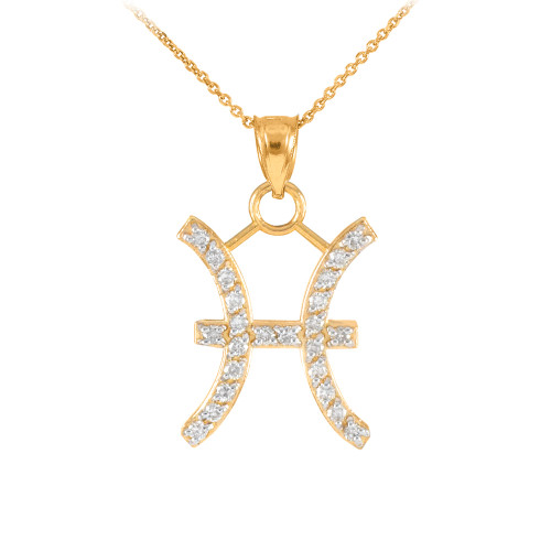 14K Gold Pisces Zodiac Sign Diamond Pendant Necklace