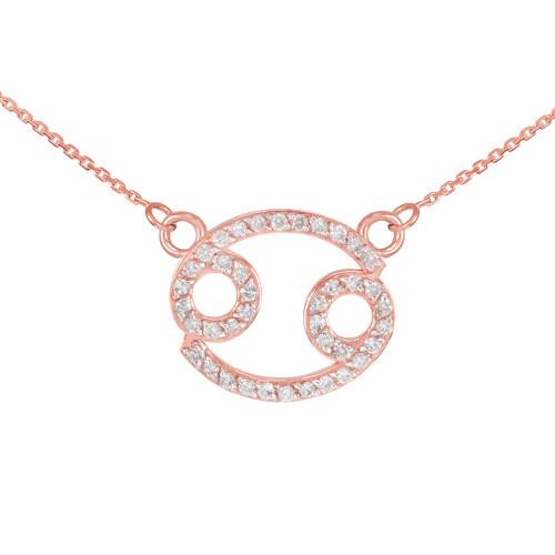 14K Rose Gold Cancer Zodiac Sign Diamond Necklace