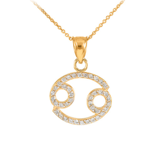 14K Gold Cancer Zodiac Sign Diamond Pendant Necklace