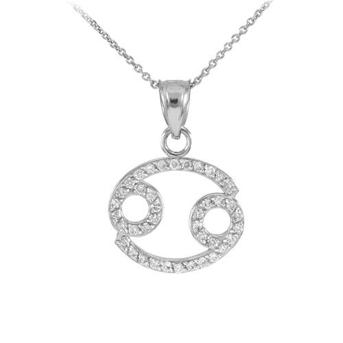 14K White Gold Cancer Zodiac Sign Diamond Pendant Necklace