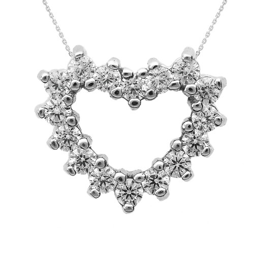 White Gold Cubic Zirconia Open Heart Necklace
