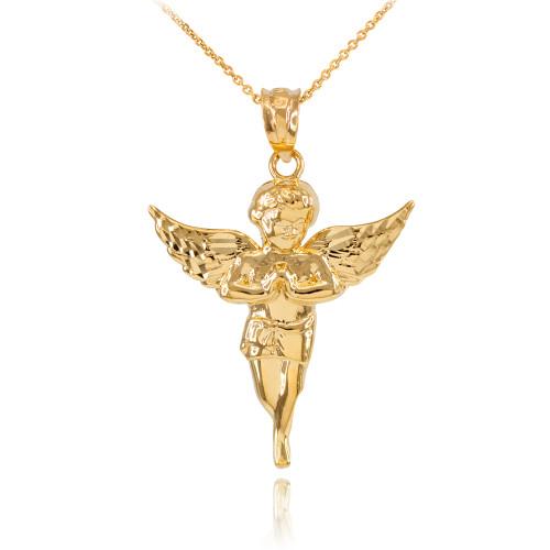 Gold Diamond Cut Angel Pendant Necklace