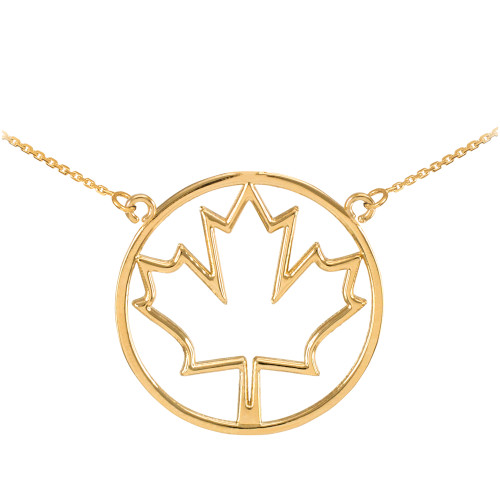 14k Yellow Gold Open Design Maple Leaf Necklace
