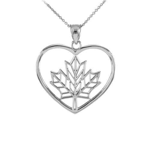 925 Sterling Silver Maple Leaf Open Heart Pendant Necklace
