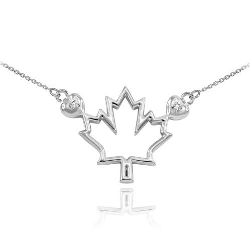 14k White Gold Open Design Maple Leaf Diamond Necklace