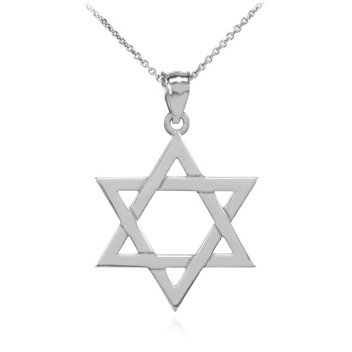 925 Sterling Silver Jewish Star of David Charm Pendant Necklace (Small)