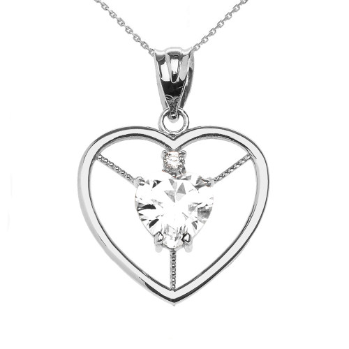 Elegant White Gold CZ and April Birthstone White CZ Heart Solitaire Pendant Necklace