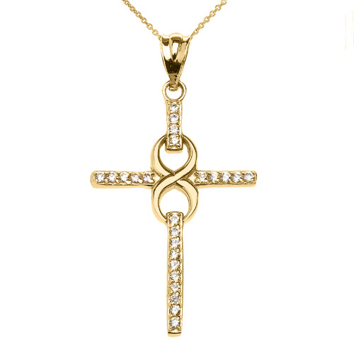 Yellow Gold and CZ Infinity Cross Pendant Necklace