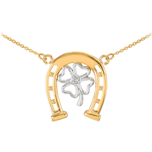 14k Two-Tone Gold Lucky Horseshoe with Diamond 4-Leaf Clover Necklace