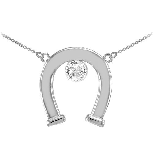 14k White Gold CZ-Studded Lucky Horseshoe Necklace