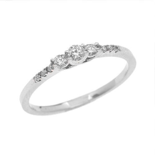 Dainty Diamond Engagement Ring in White Gold