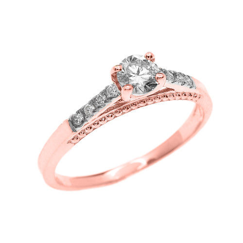 0.25 cts Diamond Engagement Ring in Rose Gold