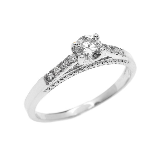0.25 cts Diamond Engagement Ring in White Gold