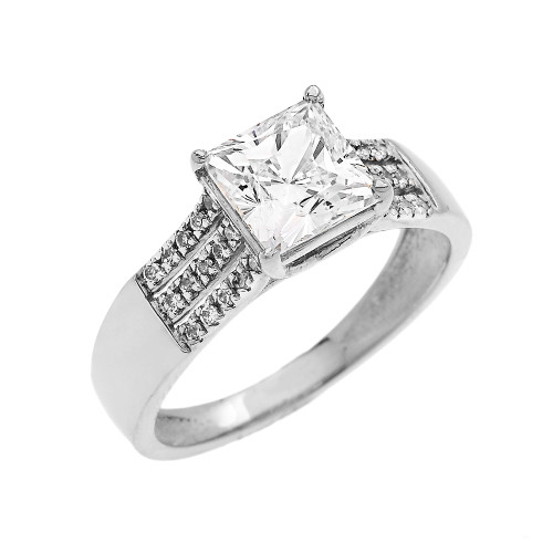 3 Carat Total Weight Cubic Zirconia Princess Cut Center-Stone White Gold Engagement and Proposal Ring (Micro Pave setting)