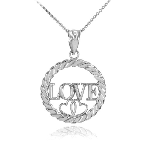 925 Sterling Silver LOVE Hearts in Circle Rope Pendant Necklace