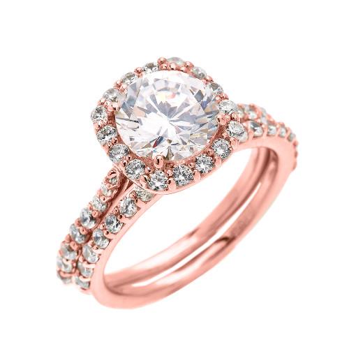 Beautiful Wedding Ring Sets | Beautiful Engagement Ring Dainty 3 Carat Halo Cz Ring Set In Rose Gold
