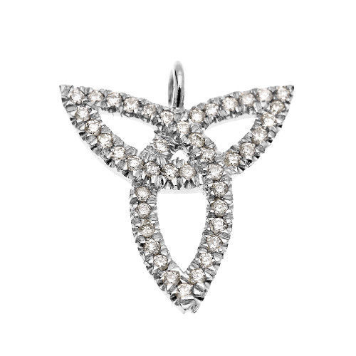 White Gold Celtic Trinity Diamond Pendant Necklace