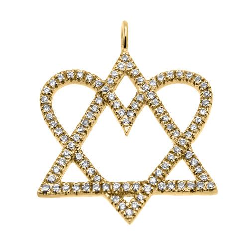 14k Yellow Gold Star of David Love Heart Diamond Pendant Necklace
