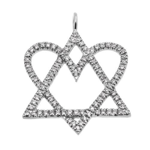 14k White Gold Star of David Love Heart Diamond Pendant Necklace