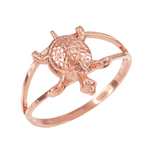 Dainty Rose Gold Lucky Turtle Charm Ring