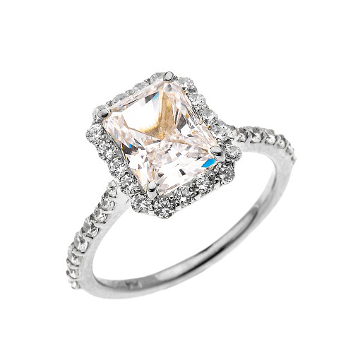 White Gold Dainty 2 Carat Emerald Cut CZ Halo Solitaire Ring