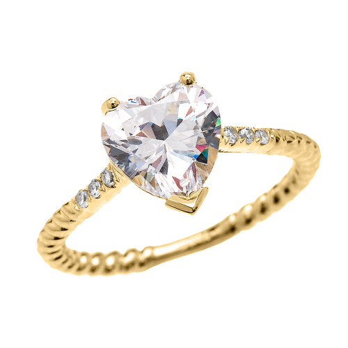 Dainty Yellow Gold Diamond and 3 Carat Heart Cubic Zirconia Solitaire Rope Design Engagement Ring