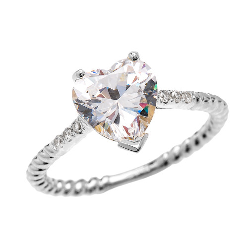 Dainty White Gold Diamond and 3 Carat Heart Cubic Zirconia Solitaire Rope Design Engagement Ring