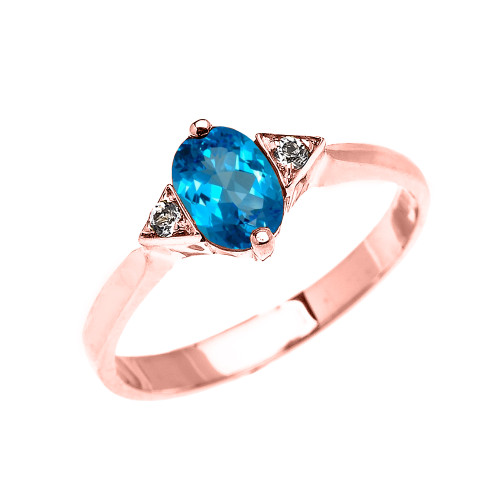 Rose Gold Solitaire Oval Blue Topaz and White Topaz Engagement/Promise Ring