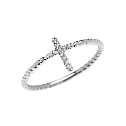 White Gold Dainty Diamond Cross Rope Design Ring