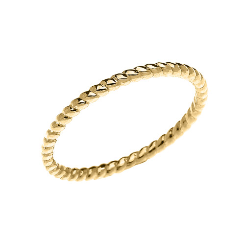 Dainty Stackable Rope Design Ring in Gold (Yellow/Rose/White)