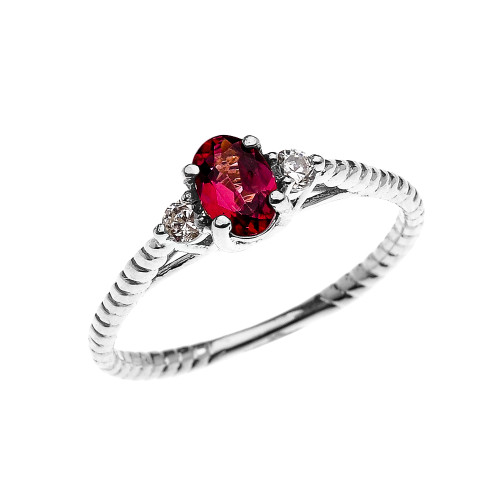 Dainty White Gold Garnet Solitaire Rope Design Engagement/Promise Ring