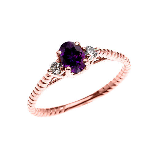 Dainty Rose Gold Amethyst Solitaire Rope Design Engagement/Promise Ring