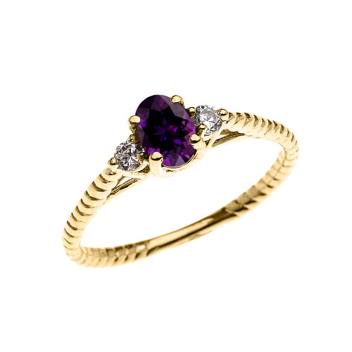 Dainty Yellow Gold Amethyst Solitaire Rope Design Engagement/Promise Ring