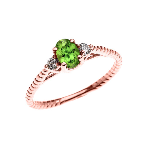 Dainty Rose Gold Peridot Solitaire Rope Design Engagement/Promise Ring